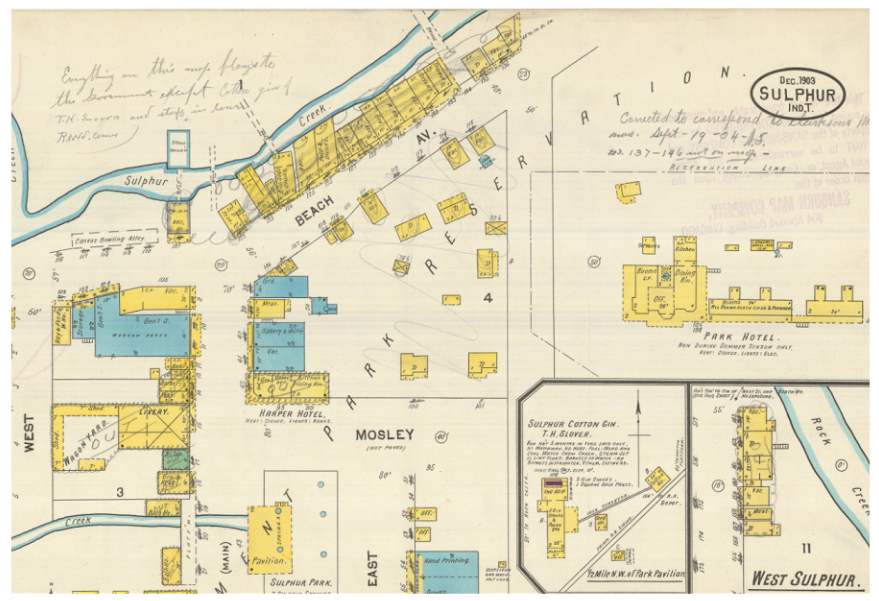 Figure Two. Map Detail: Sanborn Insurance map of portions of Sulphur Springs, Indian Territory. (Note the handwritten notes and crossed-out buildings, which related to the process of building demolition following the creation of the National Park).